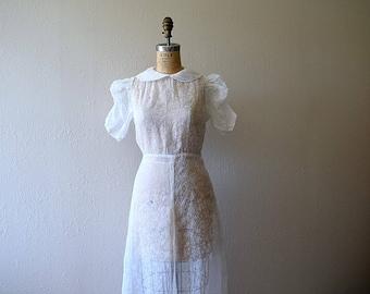 Vintage 1930s dress . white 30s wedding dress
