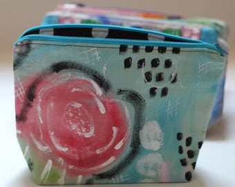 Hand Painted Zipper Pouch.  Floral.