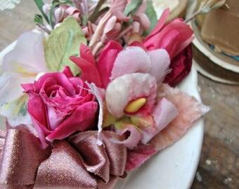 Antique Vintage Velvet Millinery Flowers Posy - #200