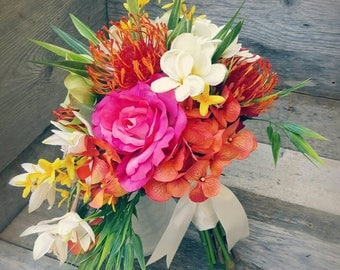 Tropical Bright Bridal Bouquet Cascade Orchid Protea Rose Bouquet Beach wedding Pink Lime Yellow Coral Orange flowers