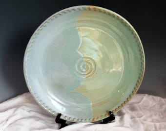 Large Pottery Platter - Stoneware platter - blue and green