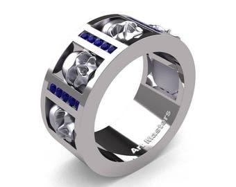 Mens Modern 14K White Gold Channel Blue Sapphire Skull Wedding Ring R413-14KWGBS