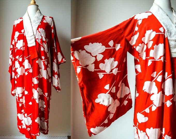 Featured listing image: 1930s 40s Red and White Floral Kimono Style Robe Dressing Gown Silk Flapper TLC