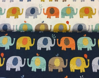 Makower baby jungle elephants in 2 colours By The Half Metre