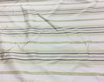 SMD Designer curtain fabric with green, yellow and brown stripe on beige by The Metre