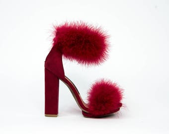 Chunky Red Fur Heel with Double Furry Faux Fur Strap Detailing