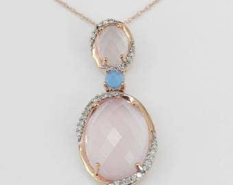 "Rose Quartz Diamond Blue Topaz Necklace Pendant 18"" Rose Gold Chain Unique Wedding Gift"