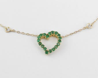 """Emerald and Diamond Heart Necklace 14K Yellow Gold Pendant 18"""" Chain Wedding Gift"""