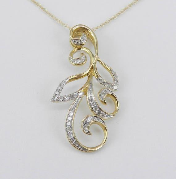 """Diamond Pendant Necklace Yellow Gold Chain 18"""" Unique Design"""