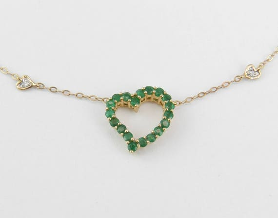 "Emerald and Diamond Heart Necklace 14K Yellow Gold Pendant 18"" Chain Wedding Gift"