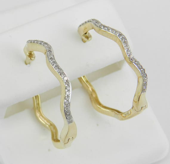 Yellow Gold Diamond Hoop Earrings Diamond Hoops Huggies Gift