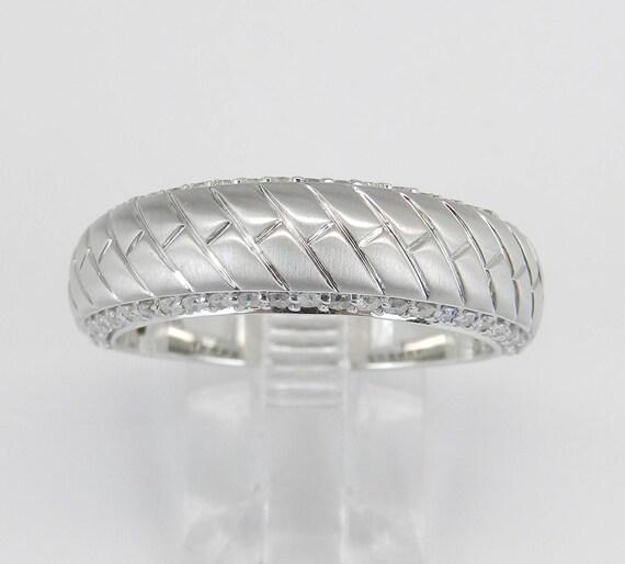 14K White Gold Men's Unisex Unique Diamond Wedding Ring Anniversary Band Size 10