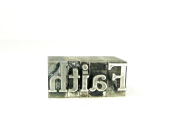Vintage Metal Letterpress Blocks, FAITH, 36 pt