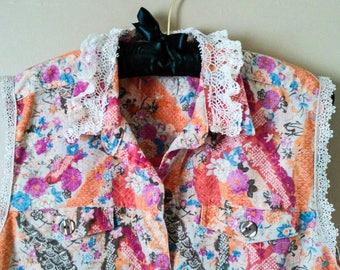 Pink Linen Vest,Upcycled Pink Vest,Floral Linen Vest, Lace Linen Vest, Upcycled Floral Vest,2x 3x 4x Plus Size,Bohemian Vest, Gypsy Vest