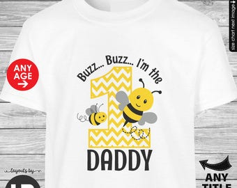 Bumblebee Birthday Shirt for Adults -- Bumble bee Birthday Birthday Daddy Shirt  - Can be made FOR ANY AGE