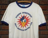 Vintage 1984 Happy Birthday Donald Duck Ringer / T-Shirt Men's XL