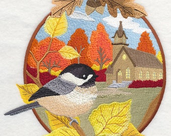 Country Autumn - Chickadee and Church Embroidered on Plain Weave Cotton Dish Towel //  Iron-on Patch // Kona Cotton Quilt Block