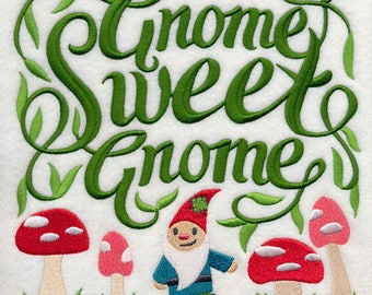 Gnome Sweet Gnome Embroidered on Plain Weave Cotton Tea Towel // Iron-on Patch // Kona Cotton Fabric Square