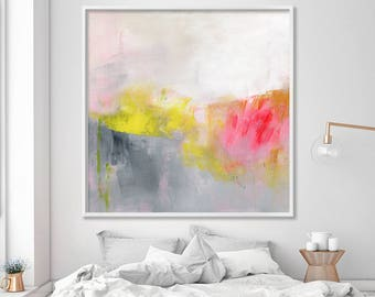 """large wall art ABSTRACT painting Giclee print up to 40x40"""" Abstract Art Extra large wall art grey white yellow red, Duealberi"""