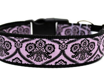 "Purple Damask Dog Collar 3/4"", 1"" or 1.5"" Halloween Dog Collar"