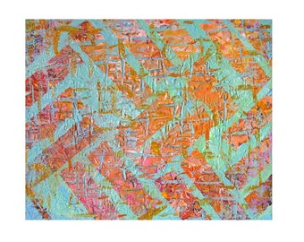 Original Abstract Acrylic painting on Stretched canvas, Size 16''x20'', Distressed Wall, modern art, rustic