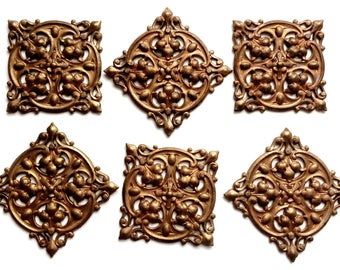 Vintage French Brass Stampings, 6 Piece, Rare Jewelry Parts, Pierce Tile Design Stampings, Jewelry Making, B'sue Boutiques, 41mm, Item03267