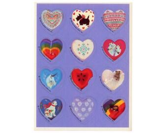 Vintage 80's HALLMARK Stickers Sheet ~ HEARTS Rainbow Unicorn Horse Cat Folk Art Valentine's Day