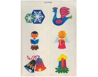 Vintage 80's DENNISON Stickers Sheet ~ CHRISTMAS Holiday Bells Snowflake Angel Peace