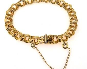 "Chunky Gold Filled Triple Link Bracelet, 7"""