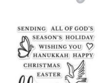 SALE Hero Arts Blessings Stamp & Cut  DC212 , Christmas, Hanukkah, Easter,Birthday, scrapbooking, paper crafting, stamping