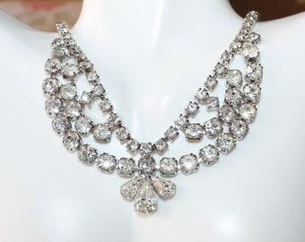 Stunning, Vintage, Multi Strand, Rhinestone Adjustable Necklace