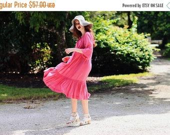 FLASH SALE 70s Fuschia Tent Dress Vintage Bohemian Smocked Summer Dress