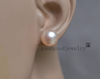 11.8mm pale pink pearl earrings - AA Big Freshwater Pearl stud Earrings,wedding jewelry,bridesmaid earrings,women earrings