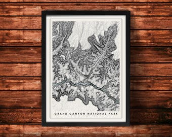 Grand Canyon National Park Topographic Map Art Print | Grand Canyon Print | Grand Canyon Artwork | Topographic Art