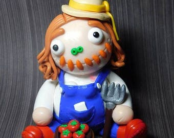 Farmer Girl Hand Sculpted Polymer Clay Figurine. was 25 now only 22