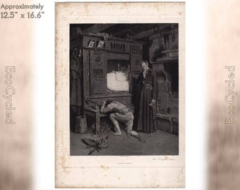 The Prodigal's Return by Henry Mosler Antique Photogravure Print Goupil Vintage Paper Ephemera ready to frame antique art hand etched zG39