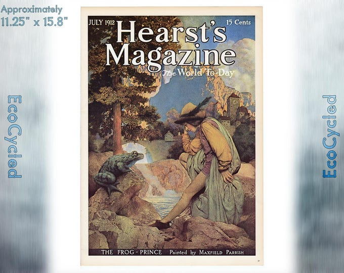 Maxfield Parrish Vintage Poster Frog Prince Print Hearts magazine cover ready to frame print vintage art print Paper Ephemera Book Page z17