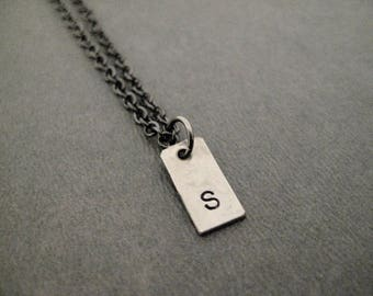Rectangle INITIAL Necklace - Hand Stamped Hand Hammered Rectangle Initial on Gunmetal chain - Little Initial - Simple Initial Necklace