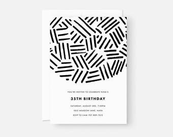 Adult Birthday Invitation / Minimalist Modern Invitations / Modern Party Invite / Black and White Pattern / Coed Baby Shower, Graduation