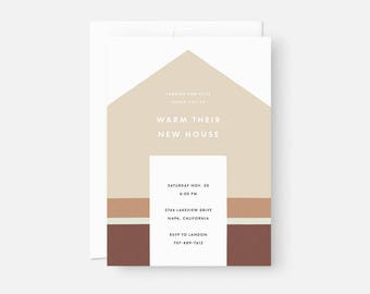 Custom Housewarming Invitation / Minimalist Invite Design / Modern Party Invitation / Muted Neutral Brown / Flat , 5x7, A7