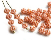 ON SALE 30pc Orange Bicone beads, Czech pressed glass spacers, 6mm bicones - 0334