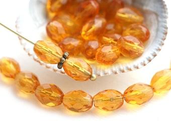 8x6mm Amber Topaz oval beads, czech glass fire polished topaz beads, olive shaped - 30Pc - 1978