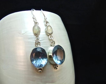 Opal & Alexandrite Sterling Silver Drop Earrings