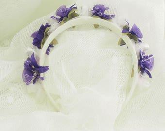 Organza Purple Flower Head Band