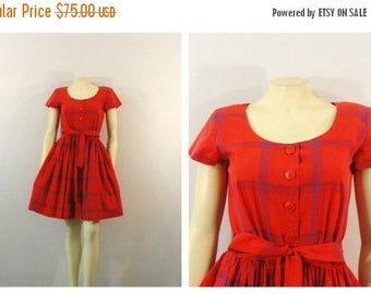 SALE Vintage Dress Shirtwaist Dress 80s does 50s Style Liz Claiborne Plaid Coral Red Blue & Purple Sz 6 Modern Small