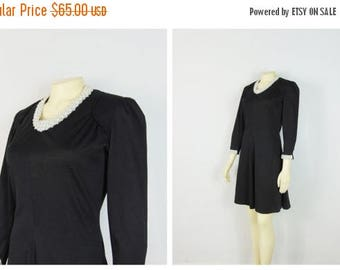 MOVING SALE Vintage Dress 60s Alfred Werber Little Black Dress Embellished Neckline & Cuffs A Line Dress Size Small to Medium