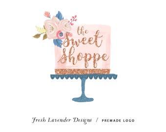 Custom Logo Design, Custom Logo, Premade Logo, Watercolor Cake, Cake Logo Bakery Logo, Floral Logo, Glitter Cake Logo, Shabby Chic Logo