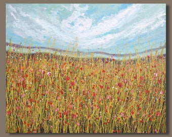 FREE SHIP semi abstract painting, field landscape painting, fluid painting, drip painting, oblong, impressionist painting, meadow painting