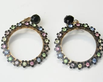 Vintage 1950's Black Enamel Flowers Pink Yellow Blue Green Rhinestone Mid Century Costume Jewelry Large Hoop Earrings Gift For Her on Etsy