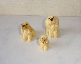 Vintage Cocker Spaniel Figurines Small Resin Set of 3 One UDC